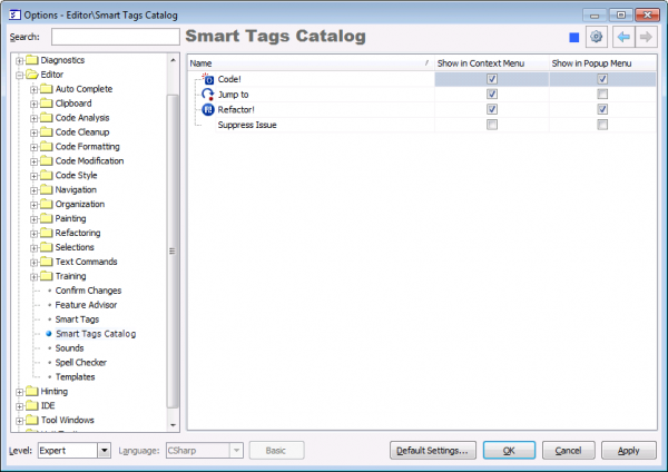 CodeRush Smart Tags Catalog options page