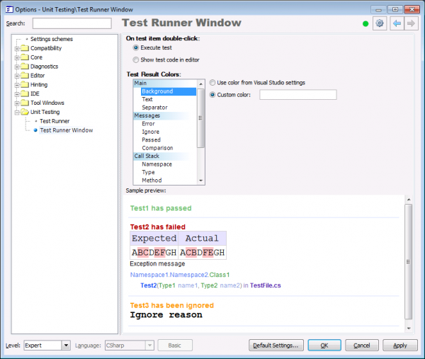 CodeRush Test Runner Window Option Page