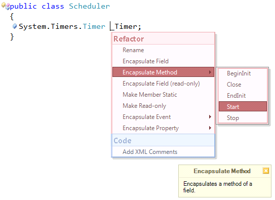 CodeRush Encapsulate Method menu preview
