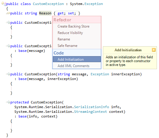 CodeRush Add Initialization preview