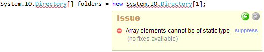 CodeRush Array elements cannot be of static type