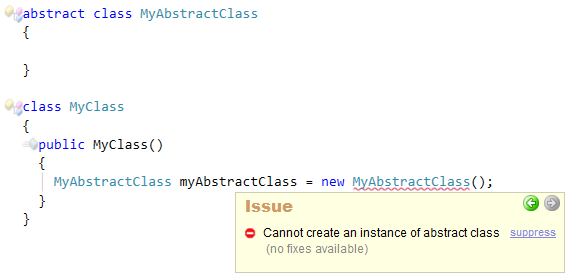 CodeRush Cannot create instance of abstract class