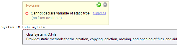 CodeRush Cannot declare variable of static type