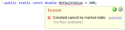 CodeRush Constant сannot be marked static