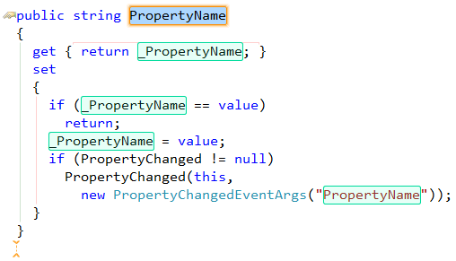 CodeRush INotifyPropertyChanged interface template support