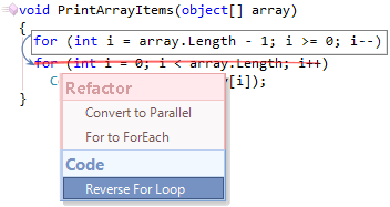 CodeRush Reverse For Loop preview