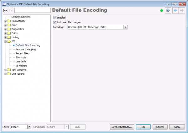 CodeRush Default File Encoding option page
