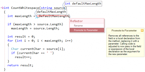 CodeRush Promote to Parameter field reference