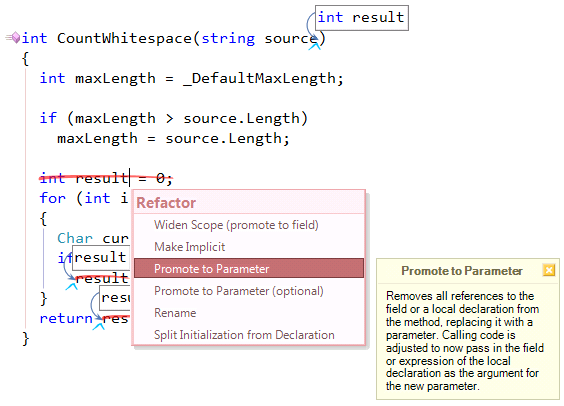 CodeRush Promote to Parameter local variable