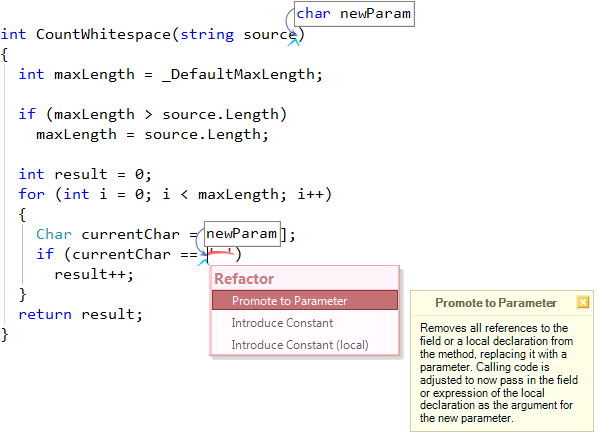 CodeRush Promote to Parameter primitive expression