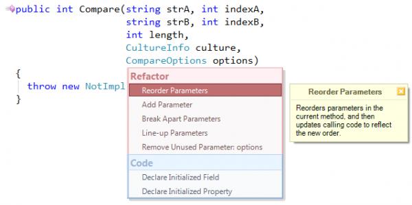 CodeRush Reorder Parameters in popup menu