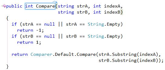 CodeRush Reorder Parameters sample code