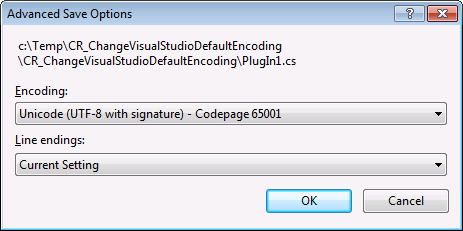 Visual Studio Advanced Save Options Dialog