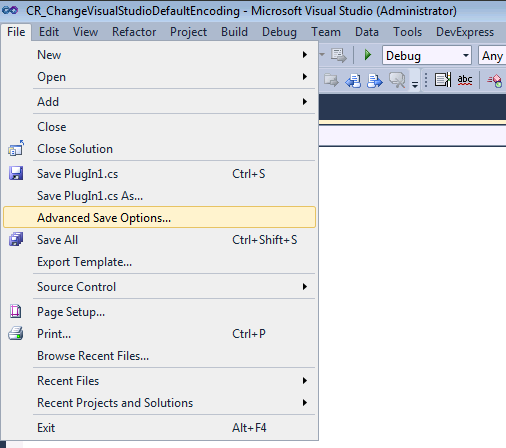 Visual Studio Advanced Save Options menu item