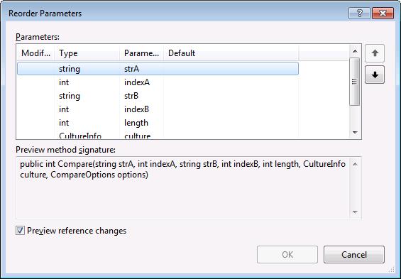 Visual Studio Reorder Parameters refactoring