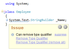 CodeRush Can remove type qualifier
