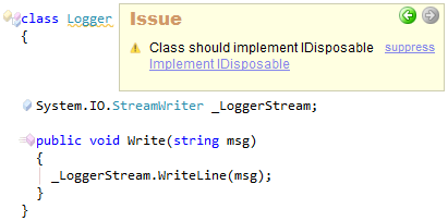 CodeRush Class should implement IDisposable