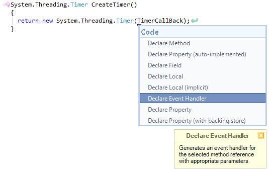 CodeRush Declare Event Handler Preview