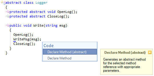 CodeRush Declare Method Abstract Preview