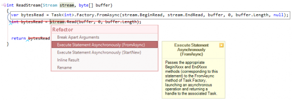 CodeRush Execute Statement Asynchronously FromAsync Preview