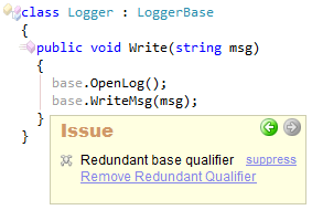 CodeRush Redundant base qualifier