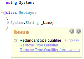 CodeRush Redundant type qualifier