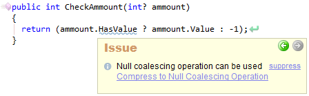 CodeRush Null Coalescing Operation Can Be Used Sample