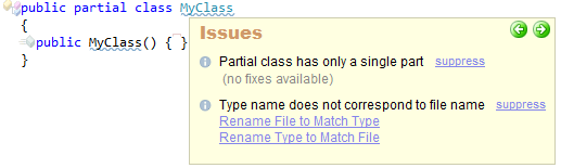 CodeRush Partial Class Has Only A Single Part Sample