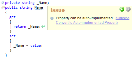 CodeRush Property Can Be Auto Implemented Sample