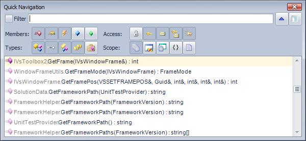CodeRush Quick Navigation Advanced Filter
