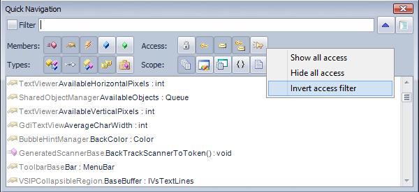 CodeRush Quick Navigation Filter Context Menu