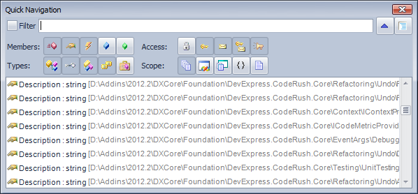CodeRush Quick Navigation Full File Path