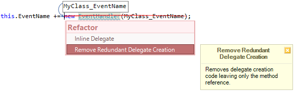 CodeRush Redundant Delegate Creation Fix