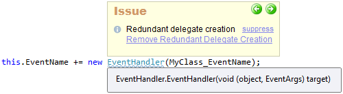 CodeRush Redundant Delegate Creation Sample
