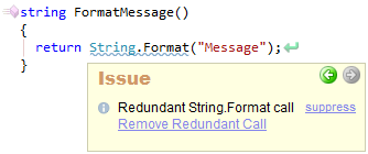 CodeRush Redundant String Format Call Sample