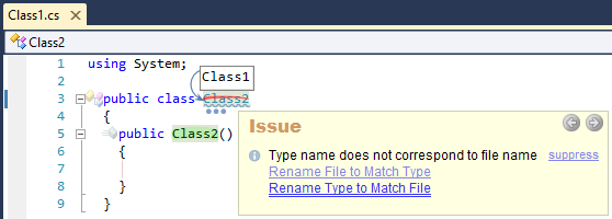 CodeRush Rename Type To Match File Fix