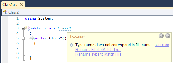 CodeRush Type Name Does Not Correspond To File Name Sample