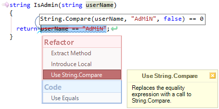 CodeRush Use String Compare Fix