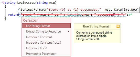 CodeRush Use String Format Fix