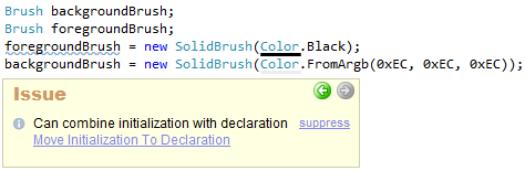 CodeRush Can Combine Initialization With Declaration Code Issue