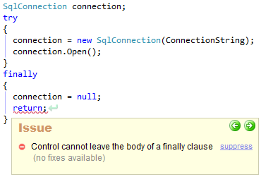CodeRush Control Cannot Leave The Body Of A Finally Clause Sample