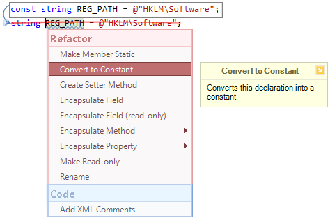 CodeRush Convert To Constant Fix Preview