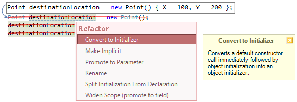 CodeRush Convert To Initializer Fix Preview