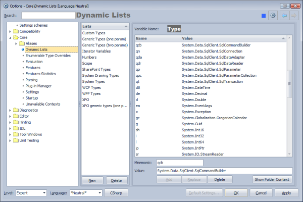CodeRush Dynamic Lists Option Page