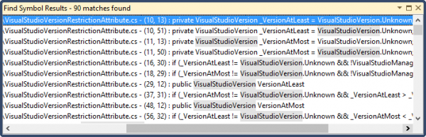 Visual Studio Find Symbol Results Window