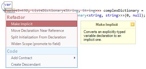 CodeRush Make Implicit Fix Preview