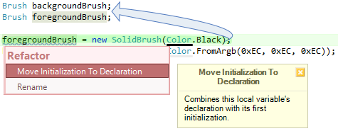 CodeRush Move Initialization To Declaration Fix Preview