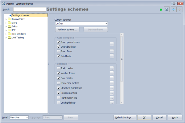 CodeRush Settings Schemes Options Page