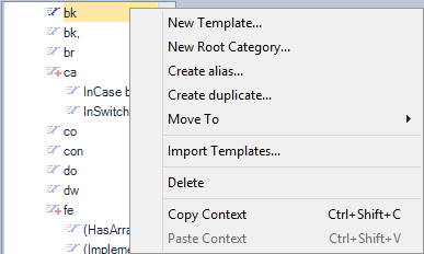 CodeRush Templates Context Menu