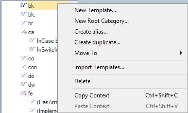 CodeRush Templates Context Menu